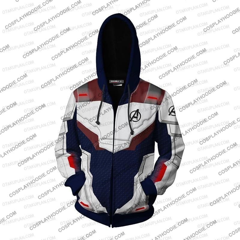 The Avengers 4 Avengers: Endgame Quantum Suits Blue Suit Hoodie Cosplay Jacket Zip Up