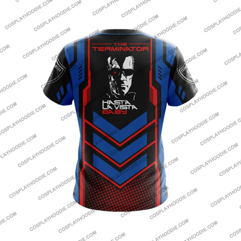 Image of The Terminator Red And Blue T-Shirt T-Shirt