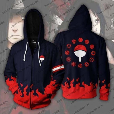 Naruto Uchiha Clan Zip Up Hoodie Jacket Cosplay