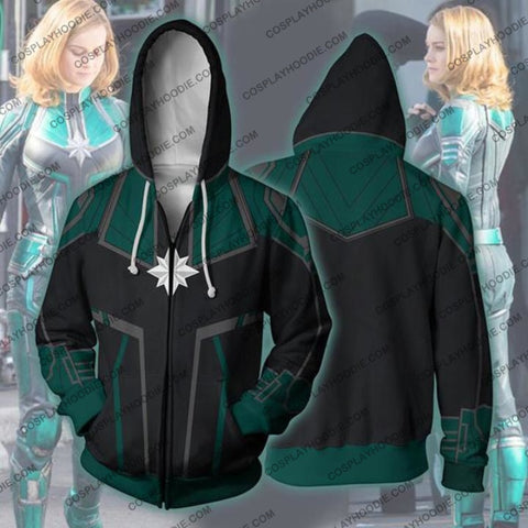 Avengers Infinity War Hoodie - Captain Marvel Green Suit Jacket Cosplay