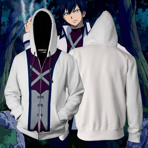 Image of Fairy Tail Gray Fullbuster Hoodie Cosplay Jacket Zip Up