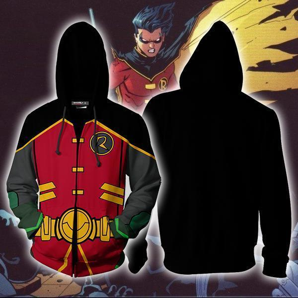 Batman Robin Hoodie Cosplay Jacket Zip Up / Us Xs (Asian S)