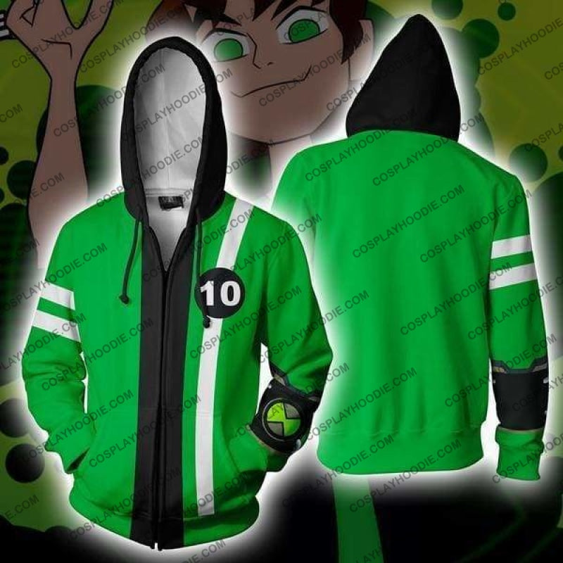 Ben 10 Green Costume Zip Up Hoodie Jacket Cosplay
