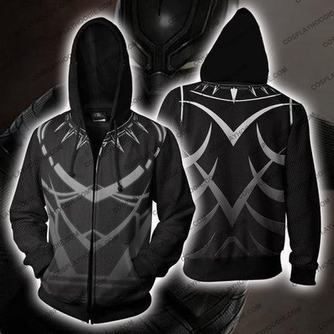 Black Panther Costume Gray Zip Up Hoodie Jacket Cosplay