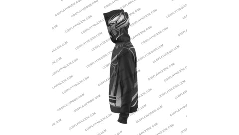Image of Black Panther Costume Gray Zip Up Hoodie Jacket Cosplay