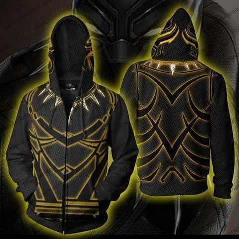 Black Panther Costume Zip Up Hoodie Jacket Cosplay