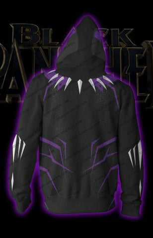 Black Panther Costume Purple Zip Up Hoodie Jacket Cosplay