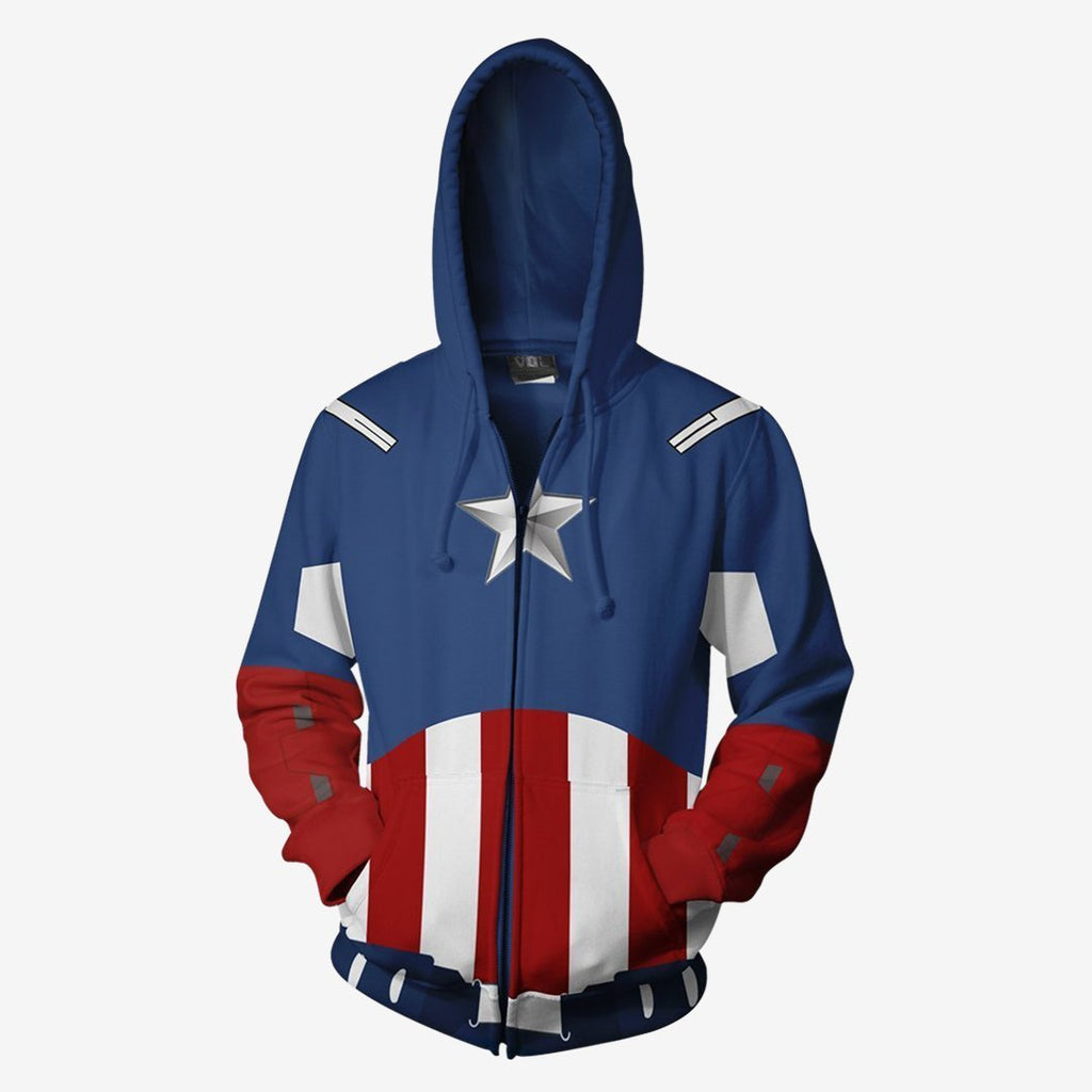 Marvel Comics - Captain America Avengers Cosplay Hoodie Jacket