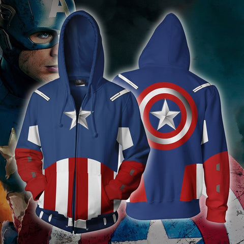 Image of Marvel Comics - Captain America Avengers Cosplay Hoodie Jacket
