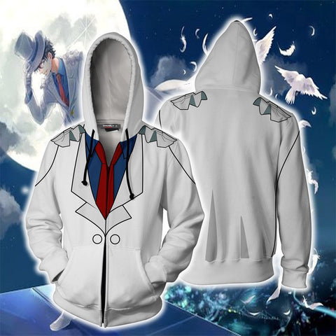 Detective Conan Kuroba Kaito (Kaitou Kid) Hoodie Cosplay Jacket Zip Up