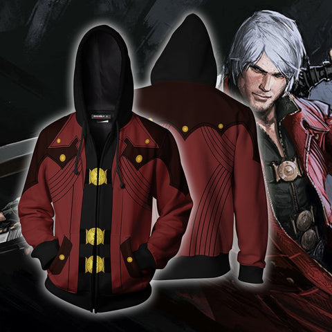 Dante Devil May Cry Hoodie Cosplay Jacket Zip Up