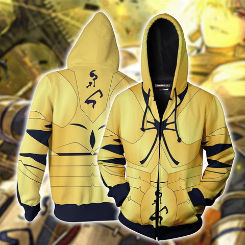 Fate Stay Night Gilgamesh Hoodie Cosplay Jacket Zip Up