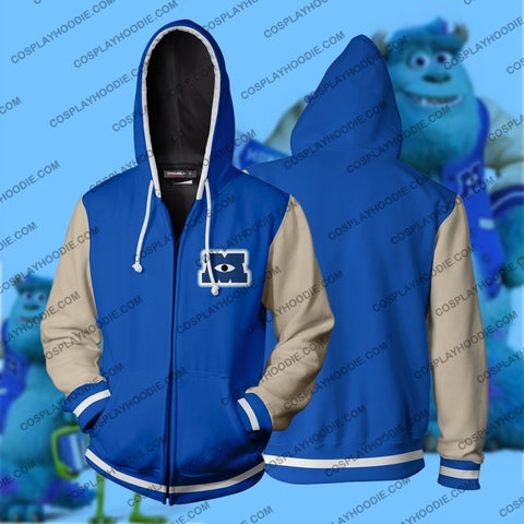 Monsters University Uniform Hoodie Cosplay Jacket Zip Up