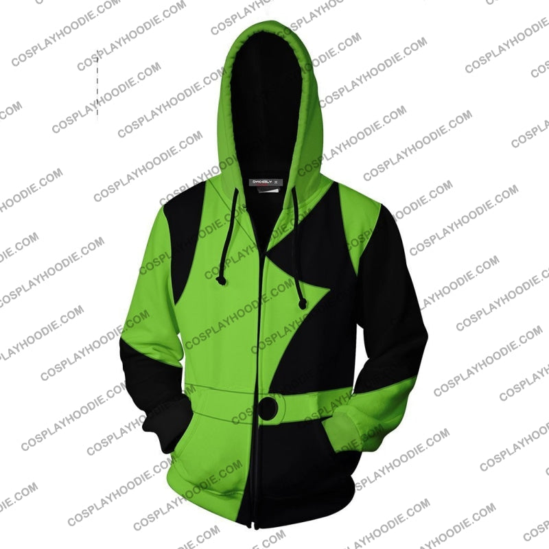 Kim Possible Shego Hoodie Cosplay Jacket Zip Up