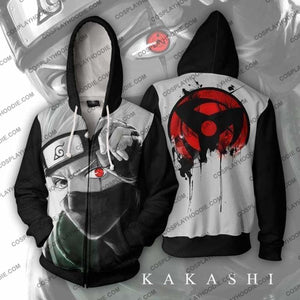 Naruto Kakashi Sharingan Zip Up Hoodie Jacket Cosplay