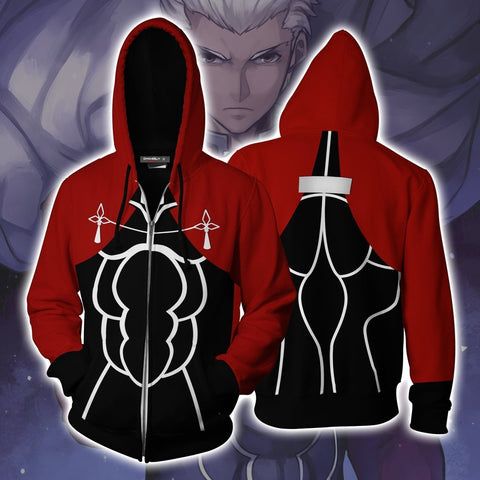 Fate Stay Night Archer Hoodie Cosplay Jacket Zip Up
