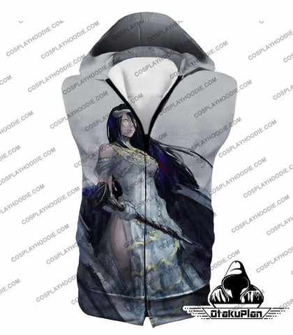Image of Overlord Extremely Evil Albedo Cool Action Anime White T-Shirt Ol0015 - Hooded Tank Top / Us Xxs (Asian Xs) - T-Shirt