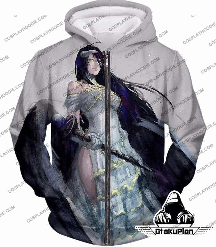 Overlord Extremely Evil Albedo Cool Action Anime White T-Shirt Ol0015 - Zip Up Hoodie / Us Xxs (Asian Xs) - T-Shirt