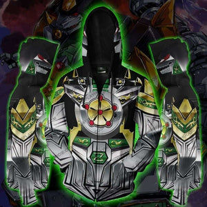 Power Rangers Dragonzord Zip Up Hoodie Jacket Cosplay