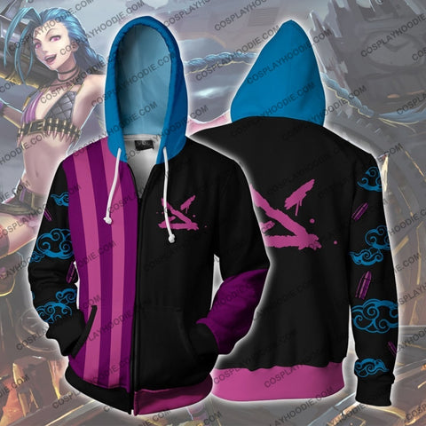 Lol Jinx Zip Up Hoodie Cosplay Jacket