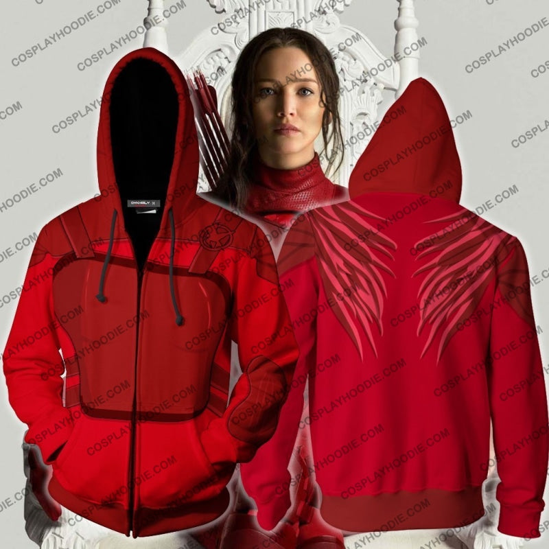 The Hunger Games Mockingjay Katniss Everdeen (Red) Hoodie Cosplay Jacket Zip Up