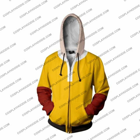 Image of One Punch Man Saitama Zip Up Hoodie Jacket Cosplay