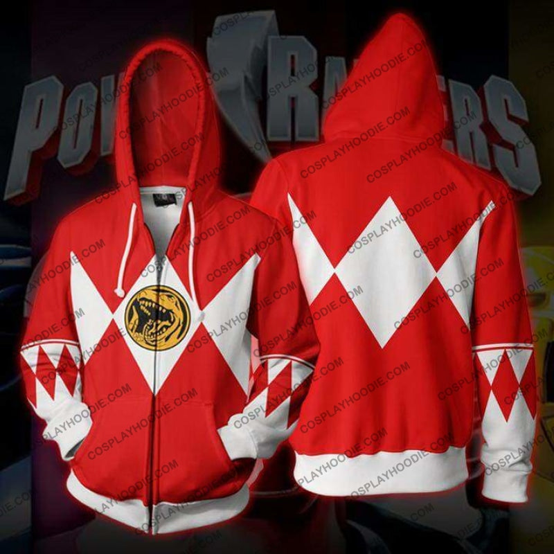 Power Rangers Red Zip Up Hoodie Jacket Cosplay