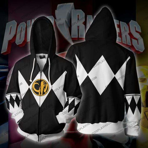 Power Rangers Black Zip Up Hoodie Jacket Cosplay