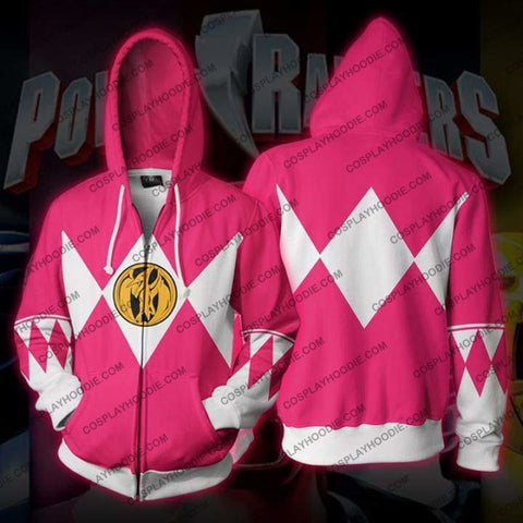 Power Rangers Pink Zip Up Hoodie Jacket Cosplay