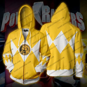 Power Rangers Yellow Zip Up Hoodie Jacket Cosplay