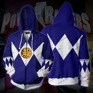 Power Rangers Blue Zip Up Hoodie Jacket Cosplay