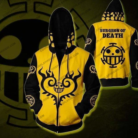 Image of One Piece Trafalgar Law Zip Up Hoodie Jacket Cosplay