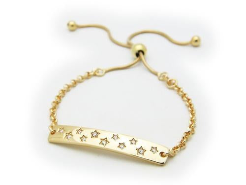 Star Studded ID Rolo Link Adjustable Bracelet