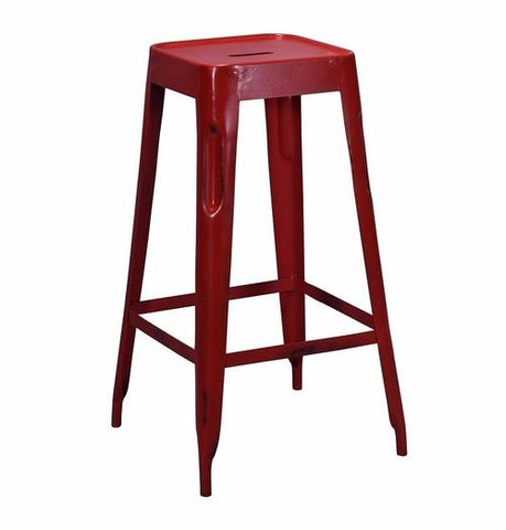 Tolix Style Bar Stool Red - Iron - Reproduction |