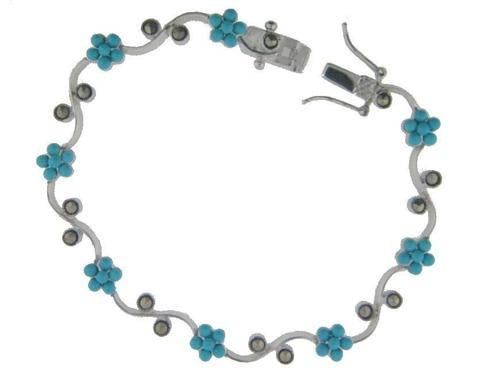 Sterling Silver Bracelet Mini Turquise Beads and