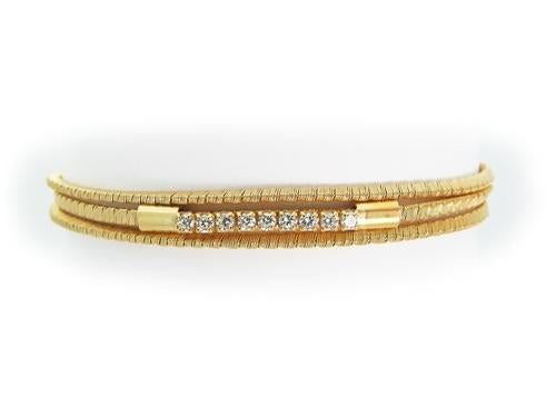 Sparkling Three Strand Golden Wire Bracelet