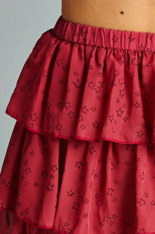 Women's Printed Stars Tiered Skirt