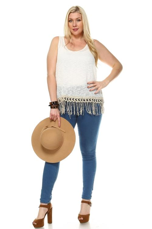 Women's Plus Sleeveless Knitted Top with Fringe
