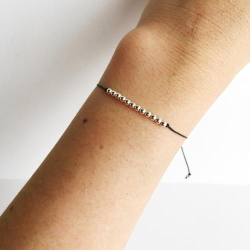 Sterling Silver Minimalist Beaded Wish Bracelet