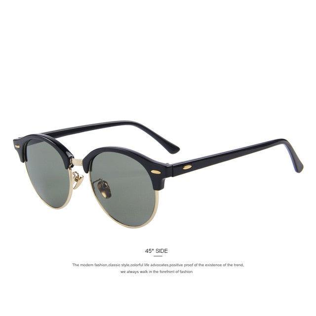 MERRY'S Men Retro Rivet Polarized Sunglasses Classic Brand Designer Unisex Sunglasses Half Frame S'8054