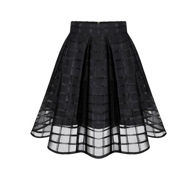 JECKSION High Waist Women Skirts Fashion Organza Skirts Zipper faldas for Ladies Tulle Skirt womens skirts