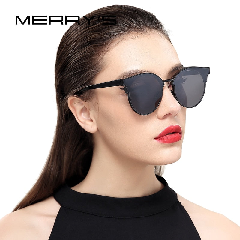 MERRY'S Women Cat Eye Sunglasses Classic Brand Designer Semi Rimless Sunglasses S'8082