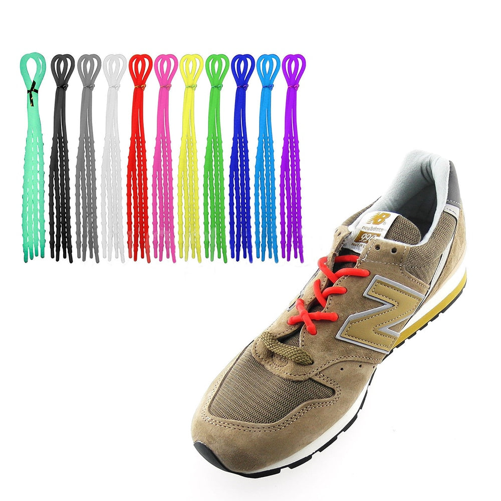 1Pair Unisex Women Men Athletic Running X-Tie Lazy Shoelaces Easy Soft Elastic Silicone Shoe Lace Strings Cable Sneaker Straps