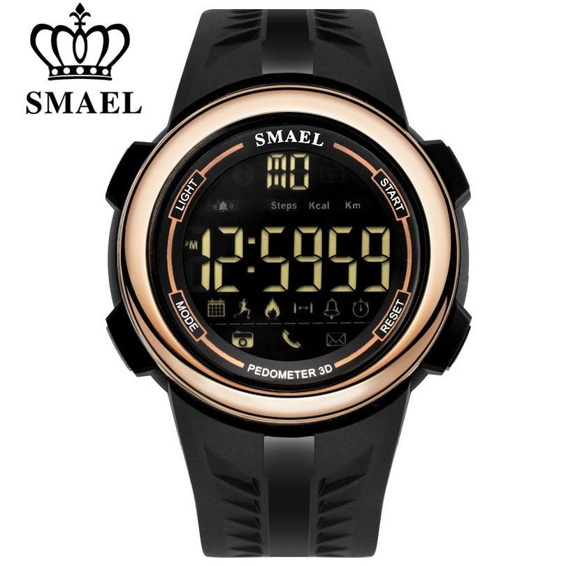 SMAEL Men Smart Watch Pedometer Calories Chronograph Fashion Outdoor Sport Watches Men Smart LED Display Electronic Wristwatches