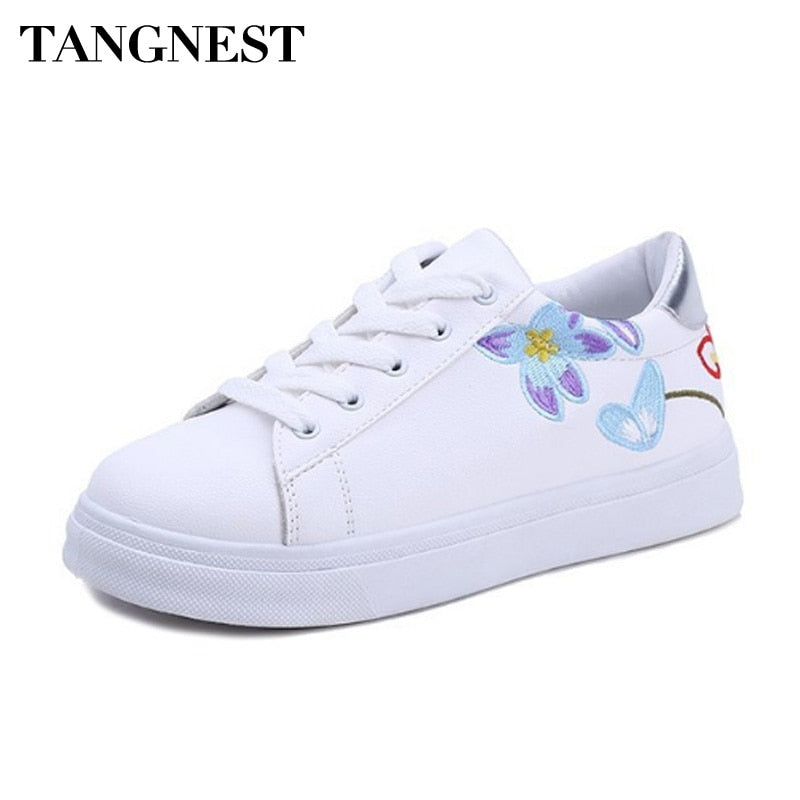 Tangnest Spring Autumn Women Vulcanized Shoes PU Leather Retro Embroidery Women Casual Shoes Comfort Flats Lady Sneakers