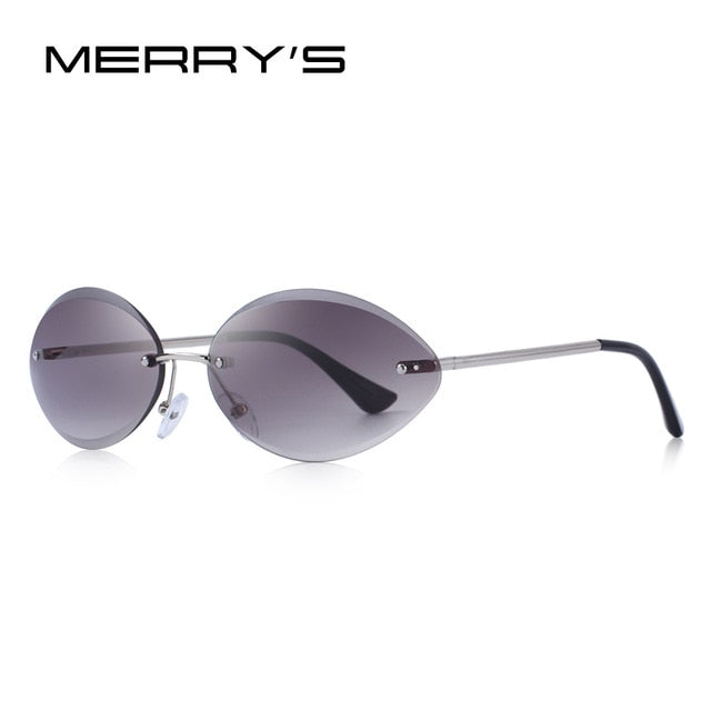 MERRY'S DESIGN Women Rimless Oval Sunglasses Gradient Lens UV400 Protection S'6157