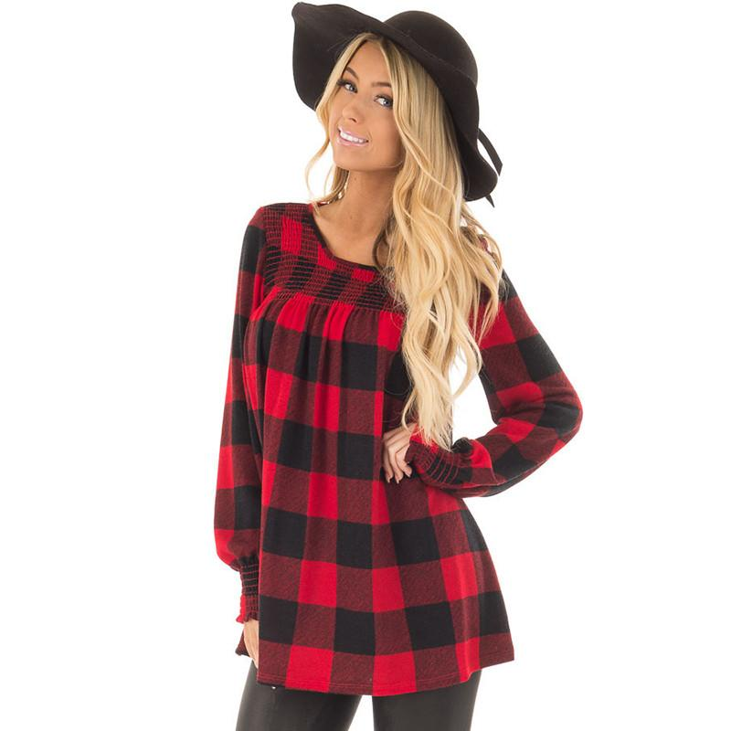 Women Long Sleeve Red Plaid Tops Tee Spring Round Neck Blouse Girls Casual T-shirt