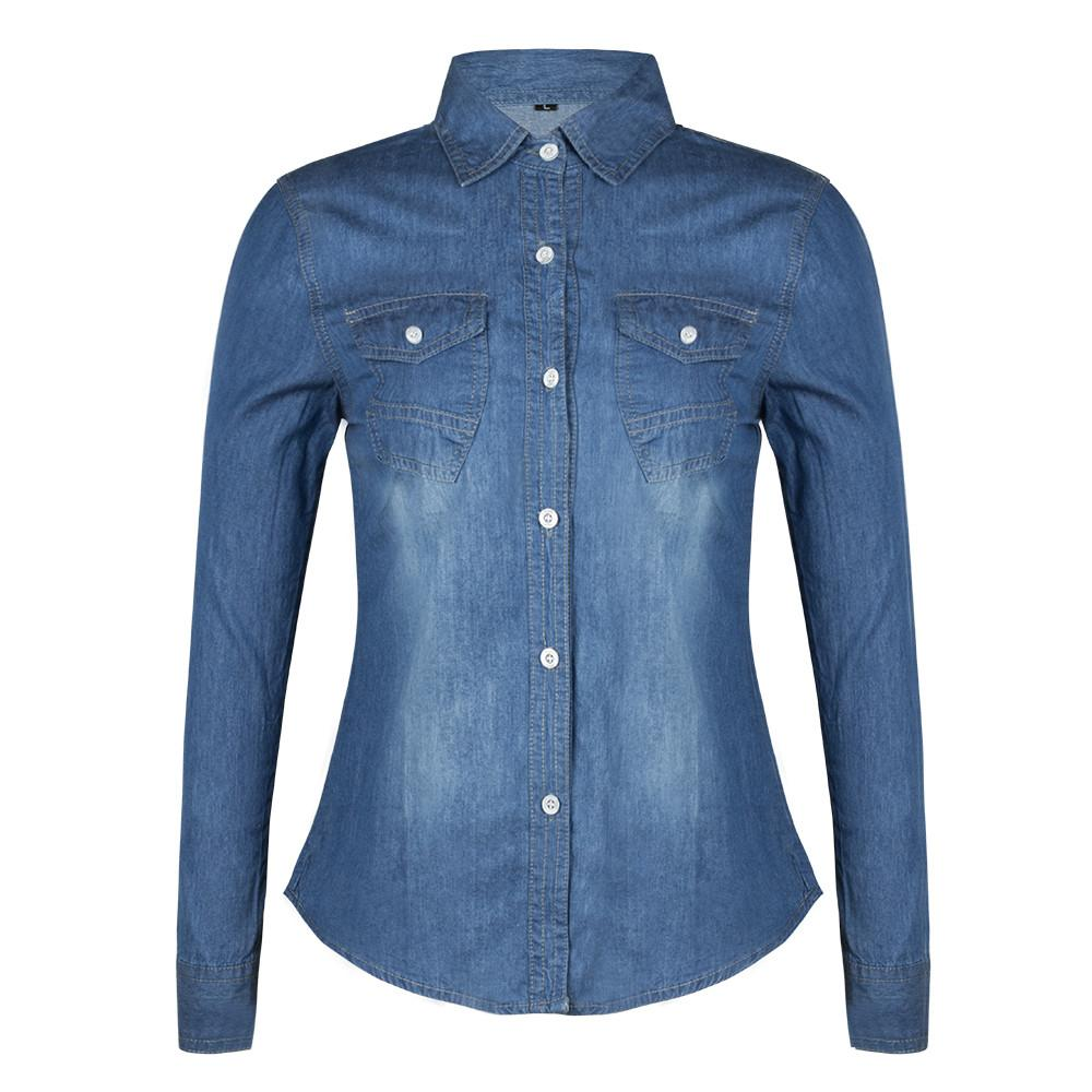 Women Long Sleeved Polo Shirts Casual Button-up Tops Spring Denim Dress Shirt Blouse