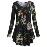 Women Long Sleeve Pullover Tops Spring Pullover Blouse Floral Print T-shirt Casual Girls T-shirt Skirt