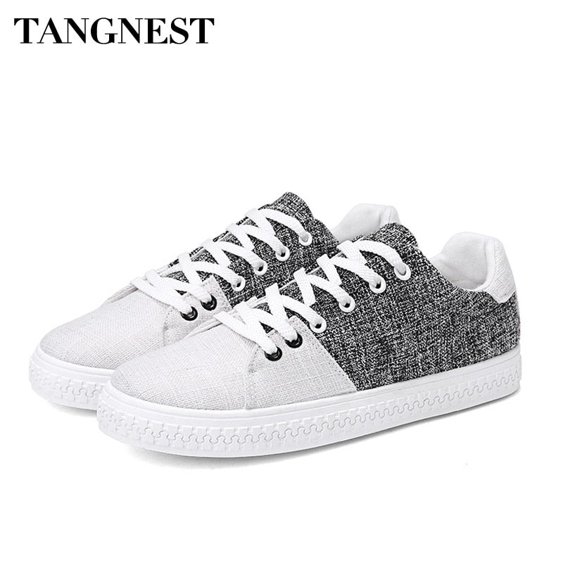 Tangnest Spring Summer Men Hemp Shoes Fashion Korean Style Light Casual Shoes Breathable Flats Lace Up Men Sneakers XMR2794